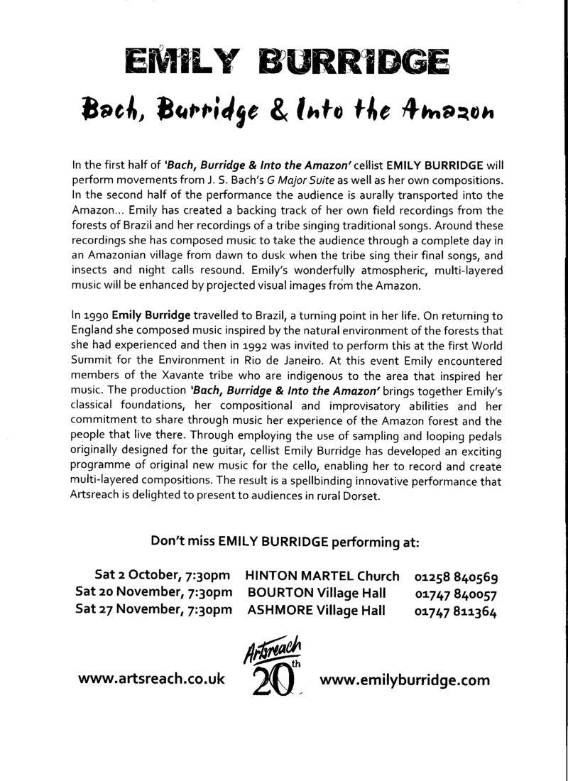 Artsreach Flyer   Bach, Burridge & Into the Amazon 001